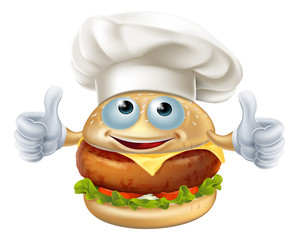 Cartoon chef burger mascot character