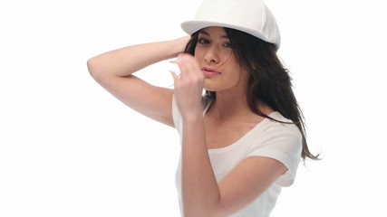 Young beauty woman wearing baseball cap and shirt  video