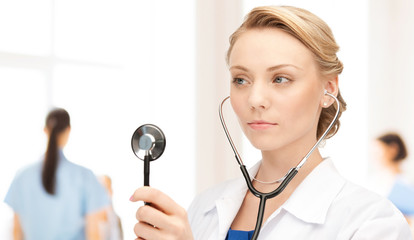 young female doctor with stethoscope