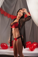 Valentines beauty girl with baloon in sleeping room