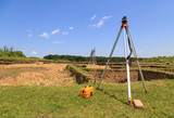 Surveying measuring equipment on tripod poster