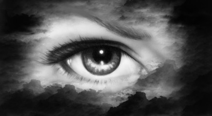 women eye painting in cloud sky effect black and white retro sty