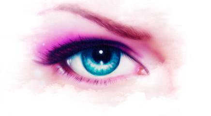 women eye painting, make up in mist effect