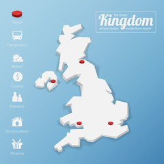 United Kingdom map with tourism icon in flat design