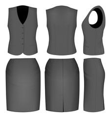 Formal black skirt suit for women