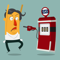 Businessman rob by gas station. Vector.  Illustration