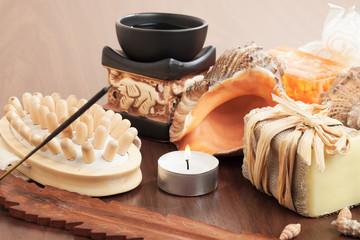 bath accessories on wooden brown background