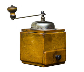 Vintage old wooden coffee grinder on a white background