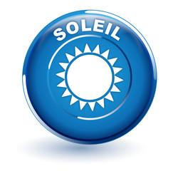 soleil sur bouton bleu
