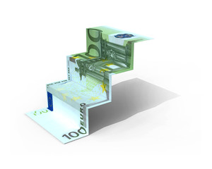 € 100 banknote folded as steps