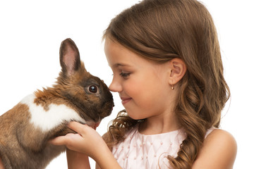 Little girl is toe with cute bunny