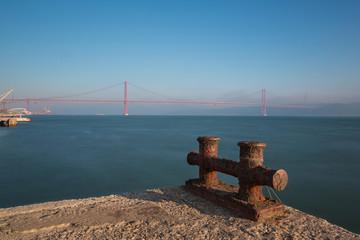 Lisboa, Portugal, Europe - Pier view to 25 April Bridge