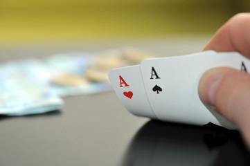 Poker, As, Texas Hold'em, Einsatz, Spieler, Glück, Pech