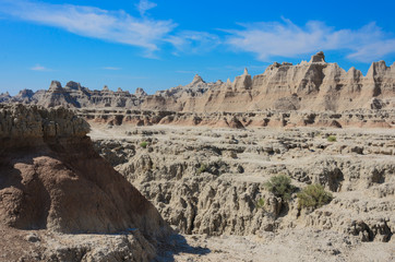 Scenic view of the Badlands National Park in South Dakota