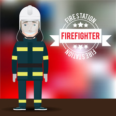 Vector firefighter character on blurred background.