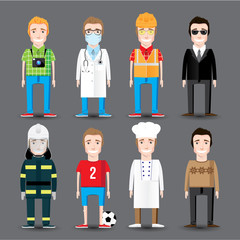Set of 8 men's professions. Vector flat design.