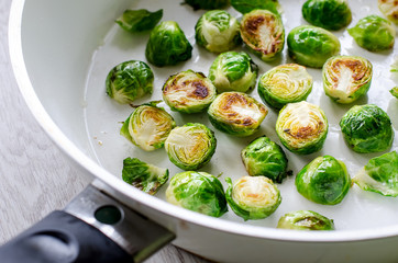 Healthy Brussels sprouts roasted in frying pan