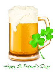 Beer and shamrock. St. Patrick day.