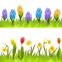 banners with spring flowers, tulips, daffodils and hyacinths