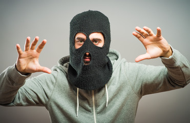 Angry man in the mask