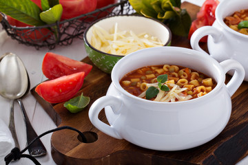 Soup with lentils, pasta and tomatoes