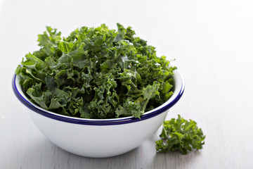 Raw kale in a bowl