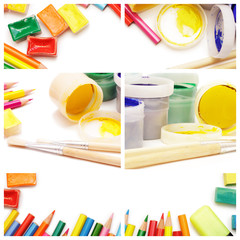 composition of multicolored drawing instruments on white backgro