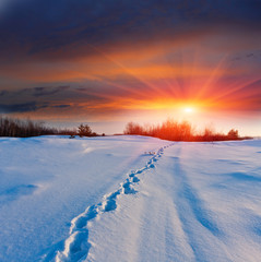 Sunset and pathway on snow