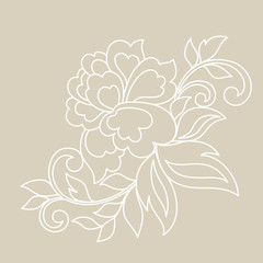 Flower ornament, hand drawn