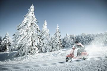 Scooter en hiver