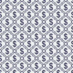 Navy Blue and White Dollar Sign Pattern Repeat Background