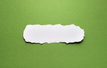 A piece of torn paper on a green background