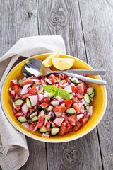 Fresh vegetable salad with mustard dressing