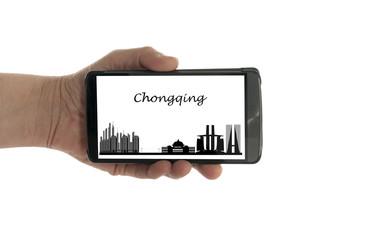 female hand with mobile phone chongqing skyline