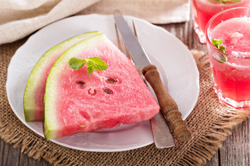 Watermelon slices on a plate
