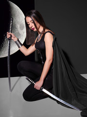 Young woman with gothic style clothing.