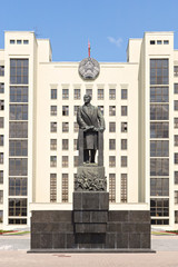 Monument to Lenin in front of government house in Minsk