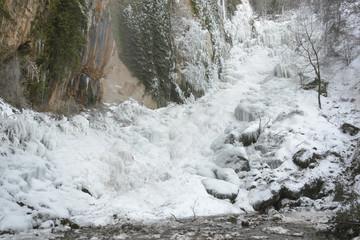 Frozen waterfall of Chorron de Viguera, La Rioja (Spain)