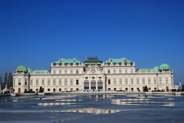 Vienna belvedere palace in winter (2/3 sky)