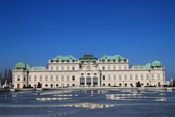 Vienna belvedere palace in winter (2/3 sky)