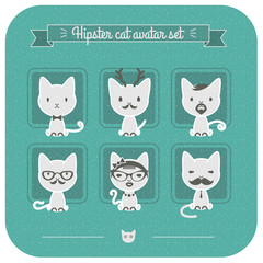 Hipster cat avatar set on blue