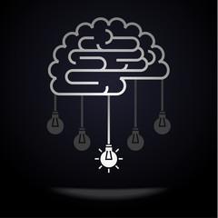 Brain with light bulbs