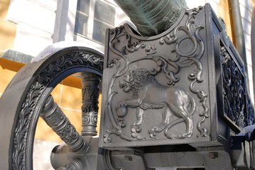 Old cannon shown in Moscow Kremlin. UNESCO Heritage Site.