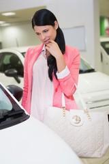 Pretty customer thinking if she buy the car