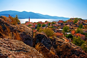 Digital painting of the village of Kapikiri  Turkey
