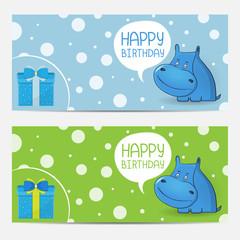 Cute happy birthday card with hippopotamus. Babies background.