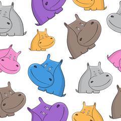 Hippopotamus seamless pattern. Babies background. Hippo.