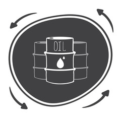 Hand drawn Vector black barrels with oil labels