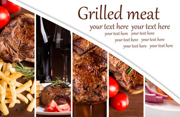 Collage from photos of grilled meat