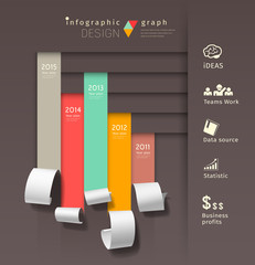 Show colorful paper roll infographics graph